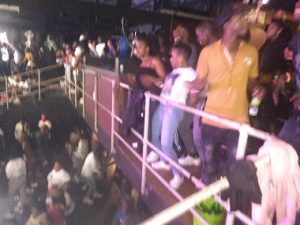 No sanitising, no masks and let alone the non-maintenance of social-distancing by a jammed-packed Zimbabwe revellers attending musical concert hosted by popular Zimbabwe artists, Killer T & Freeman at Baseline, Newtown, Johannesburg. Photo by CAJ News Africa.
